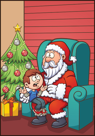 kid vector: Santa Claus sitting with kid. Vector clip art illustration with simple gradients. Most elements on separate layers for easy editing. Vectores