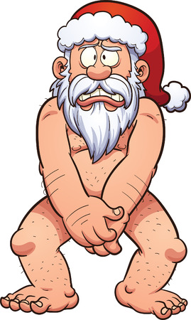 naked: Naked and ashamed Santa Claus. Vector clip art illustration with simple gradients. All in a single layer.