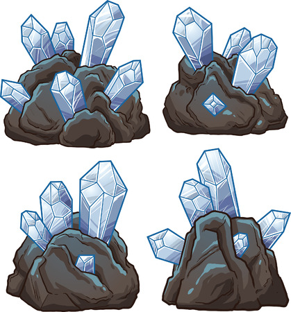 luminescent: Rocks with crystals. Vector clip art illustration with simple gradients. Each on a separate layer.