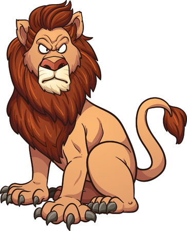 angry lion: Angry cartoon lion. Vector clip art illustration with simple gradients. All in a single layer.