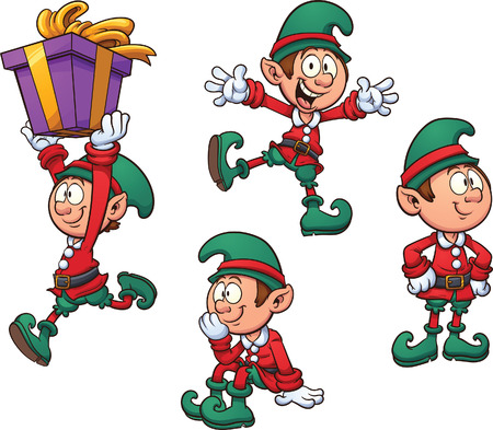 Christmas elf in different positions. Vector clip art illustration with simple gradients. Each on a separate layer. Stock Illustratie
