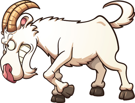 Angry cartoon goat ramming. Vector clip art illustration with simple gradients. All in a single layer.