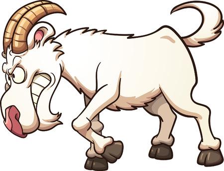 cabra: Angry embestida cabra de la historieta. Vector de imágenes prediseñadas ilustración con gradientes simples. Todo en una sola capa. Vectores