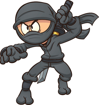cartoon,vector,gradient,isolated,character,ninja,black,Japanese,illustration