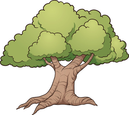 single tree: Cartoon oak tree. Vector clip art illustration with simple gradients. All in a single layer.