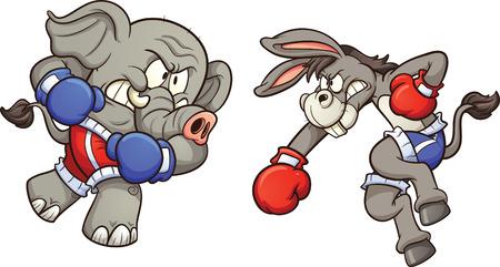 guantes de box: Demócrata burro de dibujos animados luchando elefante republicano. Vector ilustración de imágenes prediseñadas con gradientes simples. Cada uno en una capa separada.