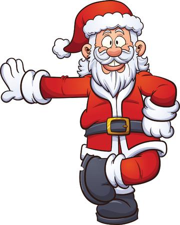 Dibujos animados Santa Claus se inclina en algo. Vector ilustración de imágenes prediseñadas con gradientes simples. Todo en una sola capa. Foto de archivo - 49688502