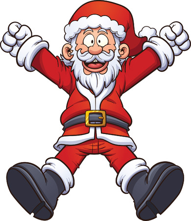 Happy cartoon Santa Claus. Vector clip art illustration with simple gradients. All in a single layer. Vettoriali
