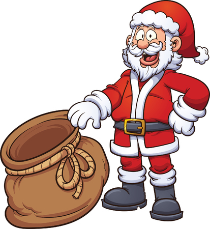 bag cartoon: Santa Claus holding an open bag. Vector clip art illustration with simple gradients. Santa, front of the bag and back of the bag on separate layers, so something can be placed inside the bag.