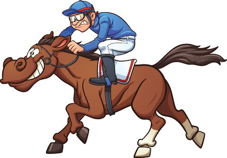 jinete: caballo de carreras de dibujos animados. Vector ilustración de imágenes prediseñadas con gradientes simples. Jinete y el caballo en capas separadas.