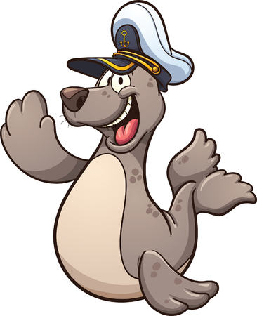 captain hat: Happy cartoon seal wearing a captain hat. Vector clip art illustration with simple gradients. Seal and hat on separate layers.