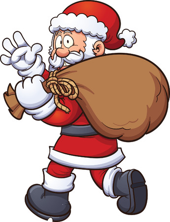 clip art santa claus: Santa Claus carrying a big bag. Vector clip art illustration with simple gradients. All in a single layer.
