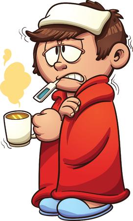 Chłopiec chory z przeziębieniem i gorączką. Clip Art ilustracji wektorowych z prostych gradientów. Kid i pary na osobnych warstwach.