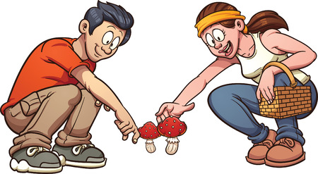 picking up: Young couple picking up mushrooms. Vector clip art illustration with simple gradients. Each element on a separate layer. Illustration