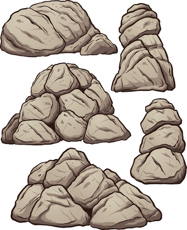 Piles of rocks. Vector clip art illustration with simple gradients. Each pile on a separate layer.