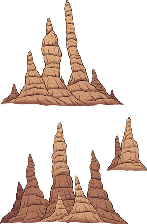 stalagmite: Cartoon stalagmites. Vector clip art illustration with simple gradients. Each group on a separate layer.