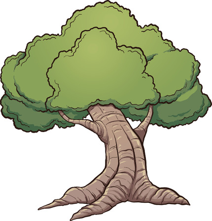 oak trees: Cartoon oak tree. Vector clip art illustration with simple gradients. All in a single layer.