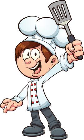 chef caricatura: Cocinero del niño que sostiene una espátula. Vector ilustración de imágenes prediseñadas con gradientes simples. Muchacho, espátula y dedos en capas separadas.