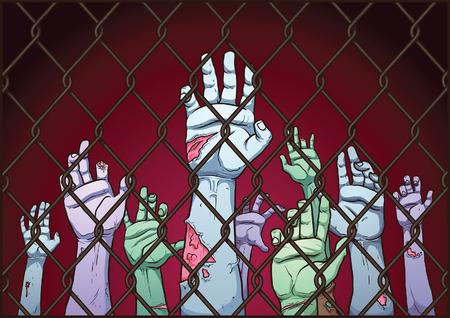 Manos del zombi detrás de una cerca. Vector ilustración de imágenes prediseñadas con gradientes simples. Valla, el fondo y las manos en capas separadas. Ilustración de vector