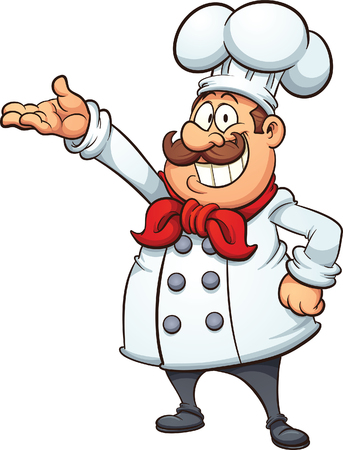 Fat cartoon chef. Vector clip art illustration with simple gradients. All in a single layer.