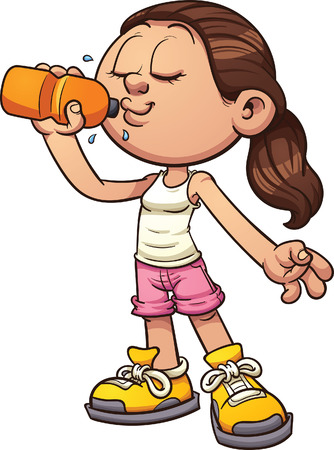 Cartoon girl drinking water. Vector clip art illustration with simple gradients. All in a single layer. Vettoriali