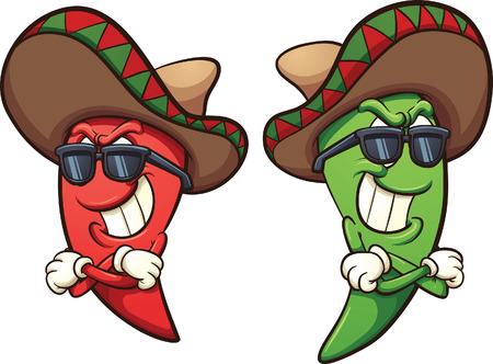 sombrero de charro: chiles rojos y verdes mexicana. Vector ilustración de imágenes prediseñadas con gradientes simples. Sombras y pimientos en capas separadas. Vectores