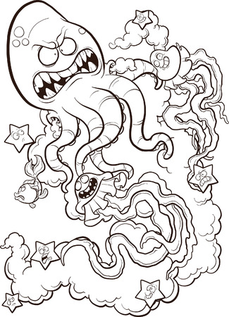 fearful: Line drawing of an octopus fighting a couple of jellyfish. Vector illustration perfect for coloring.