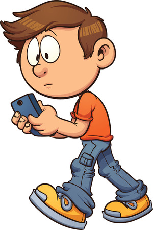 Cartoon boy texting while walking. Vector clip art illustration with simple gradients. All in a single layer.