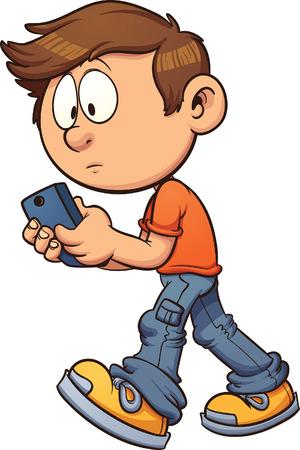 Niño de dibujos animados enviar mensajes de texto mientras se camina. Vector ilustración de imágenes prediseñadas con gradientes simples. Todo en una sola capa. Ilustración de vector