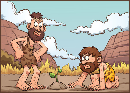 discussing: Cartoon cavemen discussing over a plant. clip art illustration with simple gradients. Background and cavemen on separate layers. Illustration