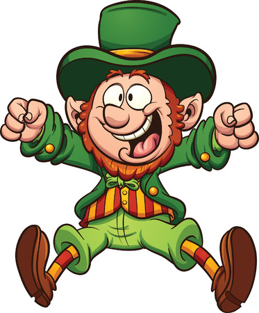 thrilled: Happy cartoon leprechaun.  Illustration
