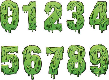 numbers: Slime cartoon numbers.
