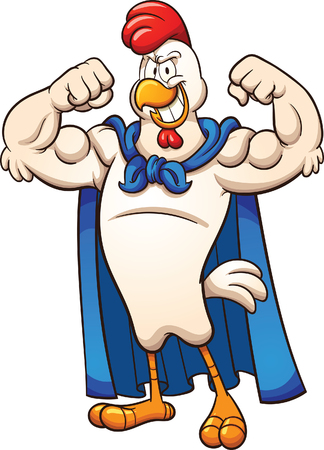 Strong super chicken. Vector clip art illustration with simple gradients. All in a single layer.
