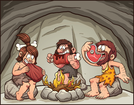 Cartoon cavemen eating around the fire. Vector clip art illustration with simple gradients. Some elements are on separate layers. Illustration