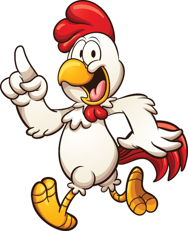 Cartoon chicken walking. Vector clip art illustration with simple gradients. All in a single layer.  イラスト・ベクター素材