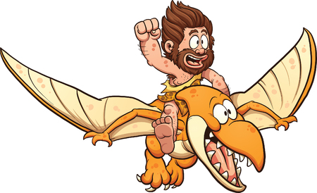 pterodactyl: Cartoon caveman riding a pterodactyl. Vector clip art illustration with simple gradients. All in a single layer. Illustration