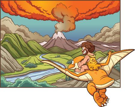 火山に向かってテロダクティルに乗って漫画穴居人。シンプルなグラデーション ベクター クリップ アート イラスト。背景と別のレイヤーに穴居人