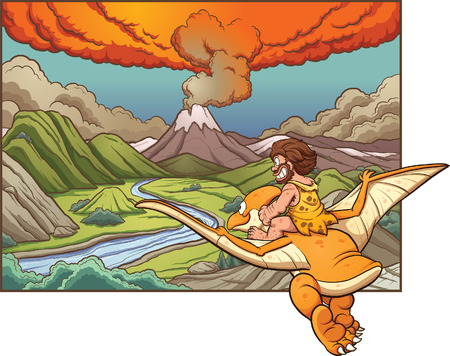 Cartoon caveman riding a pterodactyl towards a volcano. Vector clip art illustration with simple gradients. Background and caveman on separate layers. Vectores