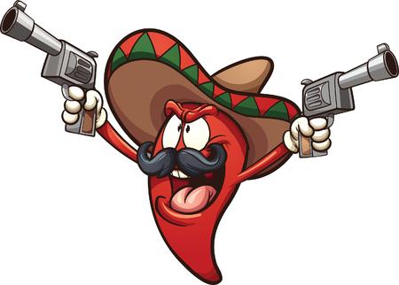 Mexikanische Chili-Pfeffer hält zwei Pistolen. Vector Clip Art Illustration mit einfachen Steigungen. Alle in einer einzigen Schicht.