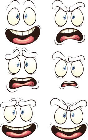 Cartoon gezichten met verschillende uitdrukkingen. Vector illustraties illustratie met eenvoudig verlopen. Elk gezicht op een aparte laag.