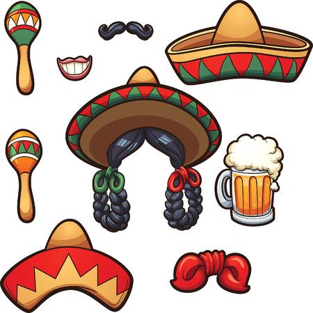 sombrero de charro: apoyos del partido de México. Vector ilustración de imágenes prediseñadas con gradientes simples. Cada uno en una capa separada.