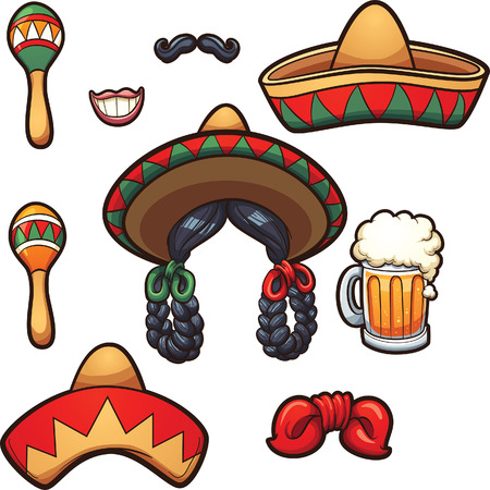 Mexican party props. Vector clip art illustration with simple gradients. Each on a separate layer. Vector Illustration