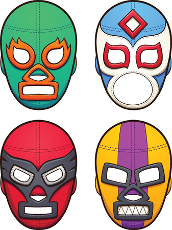 layer masks: Mexican wrestling masks. Vector clip art illustration with simple gradients. All in a single layer.