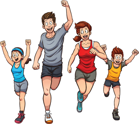 happy family isolated: Family of runners. Vector clip art illustration with simple gradients. Each on a separate layer.