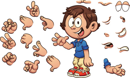 Cartoon kid with different poses and expressions. Vector clip art illustration with simple gradients. Some elements are on separate layers.