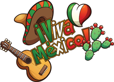 """Mexican elements set up in a banner reading """"Viva Mexico!"""". Vector clip art illustration with simple gradients. Each element on a separate layer."""