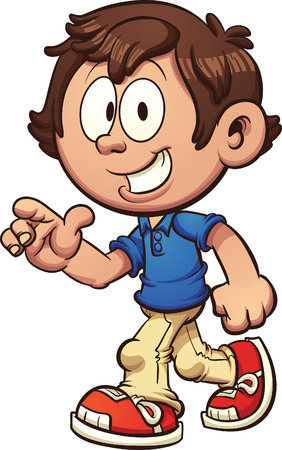 Cartoon boy walking and pointing. Vector clip art illustration with simple gradients. Some elements on separate layers. Both legs are fixed together and on the same layer. Illustration