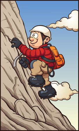 climbing mountain: Cartoon rock climber. Vector clip art illustration with simple gradients. Character,mountain, sky and clouds on separate layers.