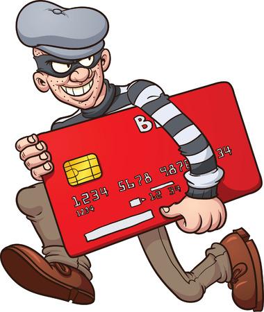 漫画クレジット カード泥棒。シンプルなグラデーション ベクター クリップ アート イラスト。すべての単一の層。  イラスト・ベクター素材
