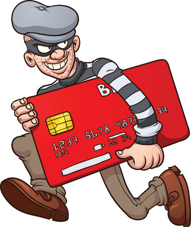 Cartoon credit card thief. Vector clip art illustration with simple gradients. All in a single layer.